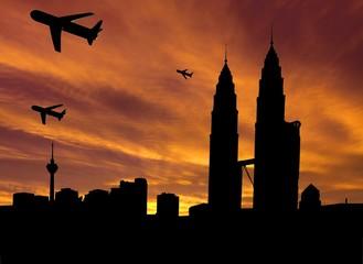 planes departing Kuala Lumpur at sunset illustration