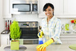 Young woman cleaning kitchen - 29009386