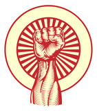 Soviet propaganda poster style fist poster