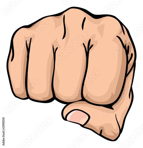 Fotobehang Pop Art a fist punching towards you
