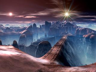 Futuristic Bridge over Ravine on Alien Planet