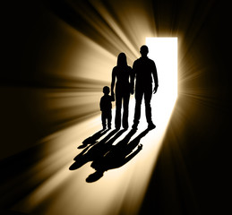 Family silhouette in doorway