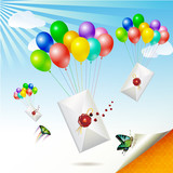 Envelopes with seal raised by balloons