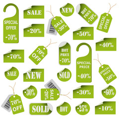 Set of green price tags and labels