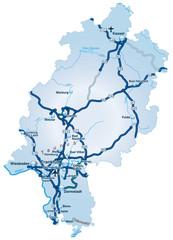 Bundesland Hessen mit Autobahnen