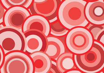 Retro seamless  red vector texture with circles
