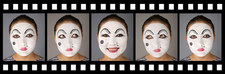 Mime portraits in a film expressing different emotions