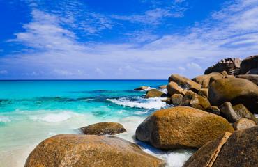 Tropical beach at island Seychelles