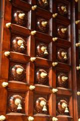 Hindu temple door with lots of bells