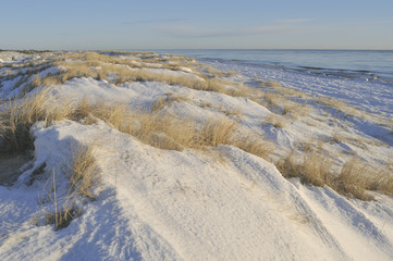 Shifting sand dunes covered with snow
