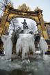 Leinwanddruck Bild - Fontaine en hiver sur la Place Stanilas à Nancy