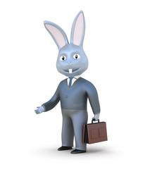 Rabbit businessman isolated on white