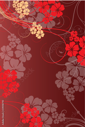 fond rouge arabesques
