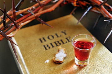 crown of thorns on a bible