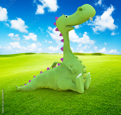 Dino Baby Dragon Sitting On The Grass