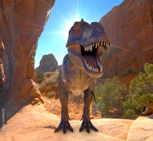 tyrannosaurus in the rocks