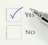 Yes no checkbox checked with pen
