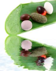 compléments alimentaires sur feuille d'aloe vera