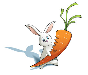New year Rabbit with big carrot