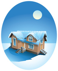 Snow-covered house in winter, vector illustration