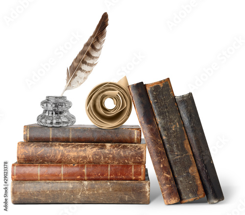 Fotobehang Retro Old books, inkstand and scroll