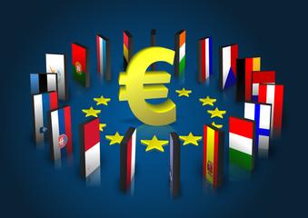 Eurozone - Dominoeffekt - Eurosymbol