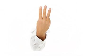 Three fingers, hand.