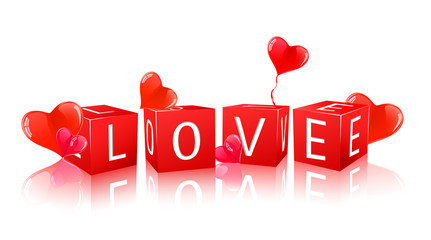 hearts and word love composed from red cubes
