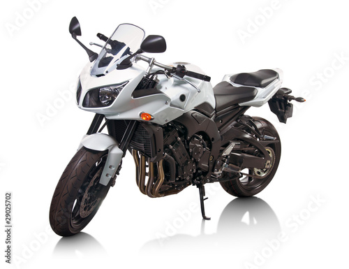 Leinwandbild Motiv Modern white japanese motorcycle isolated on white