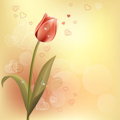 Pastel background with tulip and contour hearts