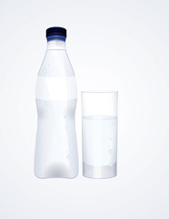 Water bottle and glass, vector