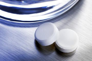 Two aspirin tablets