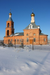 Modern brick Christian orthodox church in the winter