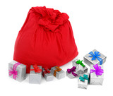 sack of Santa Claus and colorful gifts