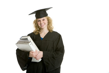 Young smiling graduation girl holding books