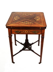 Antique Inlaid Rosewood Envelope Card Table