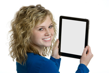 Teenage girl holding an electronic tablet