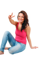 Smiling girl peace hand sign