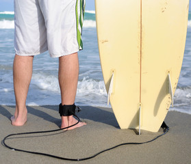 Surfer's Legs and Board
