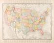 Leinwanddruck Bild - Antique Vintage Color Map United States of America, USA