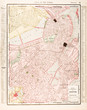 Detailed Antique Color Street City Map of Boston, Massachusetts