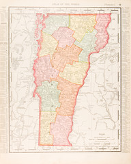 Antique Vintage Color Map of Vermont, United States USA