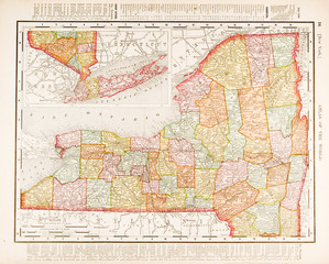 Antique Vintage Color Map of New York State, USA