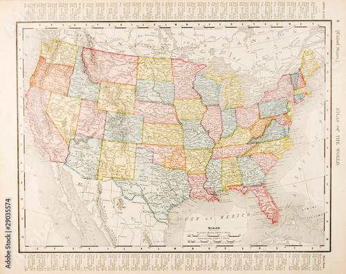 Leinwandbild Motiv Antique Vintage Color Map United States of America, USA