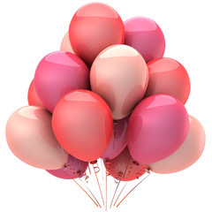 Party balloons colored romantic pink. Love sentimental emotions