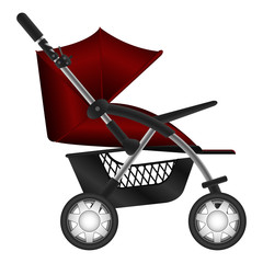 Layered illustration set of baby carriage in vector.