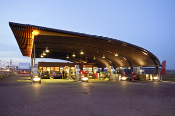 Gas station at sunset in the Netherlands