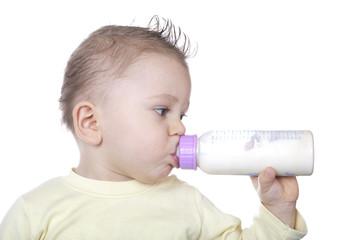 Baby is drinking milk