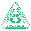 "Rubber stamp illustration showing ""PLEASE RECYCLE"" text"