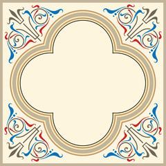 Heraldic ornamental frame in medieval style